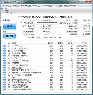 CrystalDiskInfo1.0.0の画面