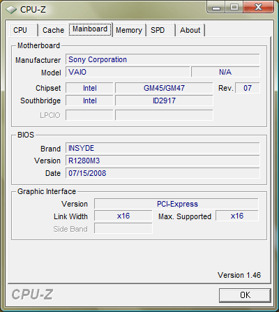 CPU-Z 1.46「Mainboard」
