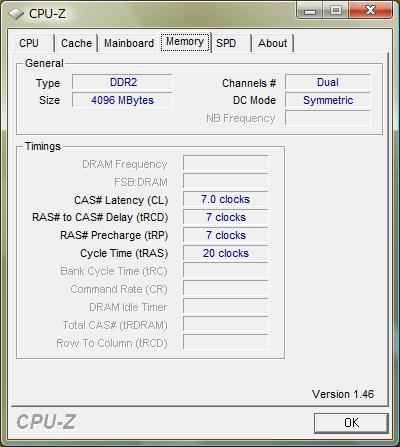 CPU-Z 1.46「Memory」