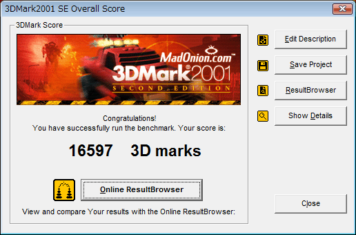 3DMark2001SEのスコア